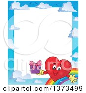 Clipart Of A Sky And Rainbow Border With A Valentine Heart Character Holding A Gift Royalty Free Vector Illustration