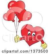 Clipart Of A Valentine Heart Character Holding Balloons Royalty Free Vector Illustration by visekart