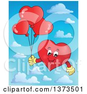 Clipart Of A Valentine Heart Character Holding Balloons Over Sky Royalty Free Vector Illustration
