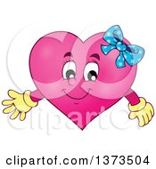 Clipart Of A Pink Female Valentine Heart Character Royalty Free Vector Illustration by visekart