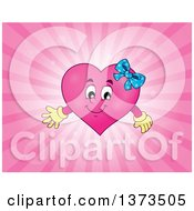 Clipart Of A Pink Female Valentine Heart Character Over Rays Royalty Free Vector Illustration