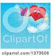 Clipart Of A Valentine Heart Character Holding A Gift Over A Blue Sky Royalty Free Vector Illustration