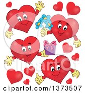 Clipart Of Red Valentine Heart Characters Royalty Free Vector Illustration