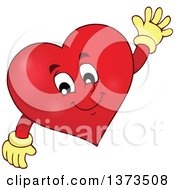 Clipart Of A Valentine Heart Character Waving Royalty Free Vector Illustration