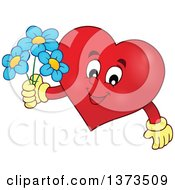 Clipart Of A Valentine Heart Character Holding Flowers Royalty Free Vector Illustration by visekart