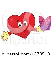 Clipart Of A Valentine Heart Character Holding A Gift Royalty Free Vector Illustration