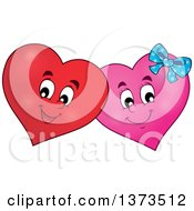 Clipart Of A Valentine Heart Character Couple Royalty Free Vector Illustration