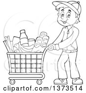 Clipart Of A Cartoon Black And White Man Pushing A Shopping Cart Full Of Groceries Royalty Free Vector Illustration by visekart