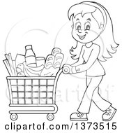 Clipart Of A Cartoon Black And White Happy Woman Pushing A Shopping Cart Full Of Groceries Royalty Free Vector Illustration by visekart