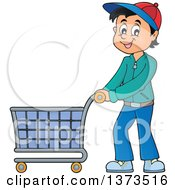 Clipart Of A Cartoon Happy White Man Pushing A Shopping Cart Royalty Free Vector Illustration