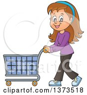 Clipart Of A Cartoon Happy White Woman Pushing A Shopping Cart Royalty Free Vector Illustration by visekart