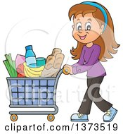 Clipart Of A Cartoon Happy White Woman Pushing A Shopping Cart Full Of Groceries Royalty Free Vector Illustration