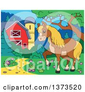 Clipart Of A Blond And Brown Horse Walking Near A Barn And Silo Royalty Free Vector Illustration