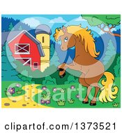 Clipart Of A Blond And Brown Horse Rearing Near A Barn And Silo Royalty Free Vector Illustration