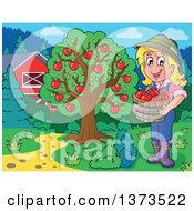 Clipart Of A Happy White Female Farmer Holding A Bushel Of Apples Near A Tree And Barn Royalty Free Vector Illustration by visekart