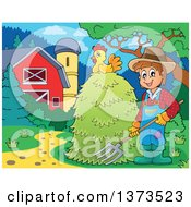 Clipart Of A Happy White Male Farmer Holding A Pitchfork At A Hay Stack With A Chicken Near A Barn And Silo Royalty Free Vector Illustration by visekart