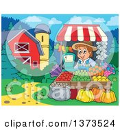 Clipart Of A Happy White Male Farmer Selling Produce At A Stand Near A Barn And Silo Royalty Free Vector Illustration