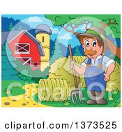 Clipart Of A Happy White Male Farmer Standing With A Pitchfork By Rolls Of Hay And A Barn Royalty Free Vector Illustration by visekart