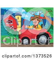 Clipart Of A Happy White Male Farmer Waving And Driving A Red Tractor By A Barn And Silo Royalty Free Vector Illustration by visekart