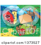 Clipart Of A Blank Sign Hay Pitchfork And Apples By A Barn And Silo Royalty Free Vector Illustration
