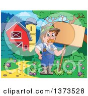 Clipart Of A Happy White Male Farmer Holding A Blank Sign Near A Barn Royalty Free Vector Illustration by visekart