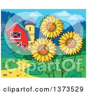 Clipart Of Happy Sunflowers Smiling Near A Barn And Silo Royalty Free Vector Illustration by visekart