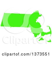 Clipart Of A Lyme Disease Awareness Lime Green Colored Silhouetted Map Of The State Of Massachusetts United States Royalty Free Vector Illustration