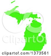 Clipart Of A Lyme Disease Awareness Lime Green Colored Silhouetted Map Of The State Of Michigan United States Royalty Free Vector Illustration