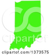 Clipart Of A Lyme Disease Awareness Lime Green Colored Silhouetted Map Of The State Of Indiana United States Royalty Free Vector Illustration