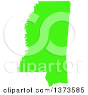Clipart Of A Lyme Disease Awareness Lime Green Colored Silhouetted Map Of The State Of Mississippi United States Royalty Free Vector Illustration