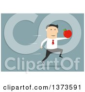 Clipart Of A Flat Design White Business Man Sprinting With An Apple On Blue Royalty Free Vector Illustration