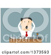 Clipart Of A Flat Design Stressed White Business Man At A Desk With Ringing Phones On Blue Royalty Free Vector Illustration