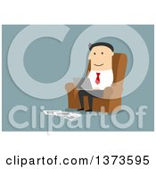 Clipart Of A Flat Design White Business Man Using A Laptop And Working From Home On Blue Royalty Free Vector Illustration by Vector Tradition SM