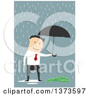 Clipart Of A Flat Design White Business Man Holding An Umbrella Over Cash In The Rain On Blue Royalty Free Vector Illustration