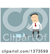 Clipart Of A Flat Design White Business Man With A Shattered Idea Light Bulb On Blue Royalty Free Vector Illustration