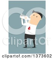 Clipart Of A Flat Design White Business Man Gulping Milk From A Bottle On Blue Royalty Free Vector Illustration
