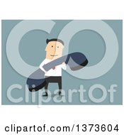 Flat Design White Business Man Holding A Telephone Receiver On Blue