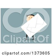 Flat Design White Business Man Carrying A Giant Envelope On Blue