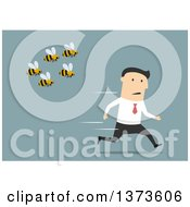 Clipart Of A Flat Design White Business Man Being Chased By Bees On Blue Royalty Free Vector Illustration by Vector Tradition SM