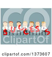 Clipart Of A Flat Design Team Of White Business Men Holding SUCCESS Letters On Blue Royalty Free Vector Illustration