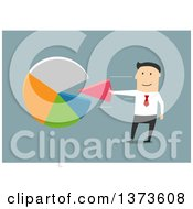 Clipart Of A Flat Design White Business Man Inserting A Piece Into A Pie Chart On Blue Royalty Free Vector Illustration by Vector Tradition SM