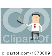 Clipart Of A Flat Design White Business Man Flipping A Pancake On Blue Royalty Free Vector Illustration