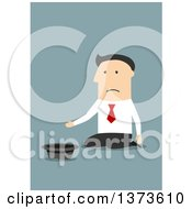 Clipart Of A Flat Design White Business Man Kneeling And Begging On Blue Royalty Free Vector Illustration