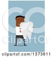 Clipart Of A Flat Design Black Business Man Holding A Giant Tooth On Blue Royalty Free Vector Illustration