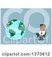 Clipart Of A Flat Design Black Business Man Using A Laptop Wired To Earth On Blue Royalty Free Vector Illustration by Vector Tradition SM