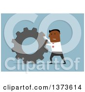 Clipart Of A Flat Design Black Business Man Pushing A Gear Cog On Blue Royalty Free Vector Illustration