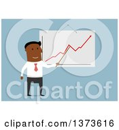 Clipart Of A Flat Design Black Business Man Discussing A Growth Chart On Blue Royalty Free Vector Illustration by Vector Tradition SM