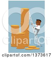 Clipart Of A Flat Design Black Business Man Climbing Stacks Of Coins With A Ladder On Blue Royalty Free Vector Illustration by Vector Tradition SM