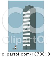Clipart Of A Flat Design Black Business Man Looking Up At A Giant Building On Blue Royalty Free Vector Illustration by Vector Tradition SM