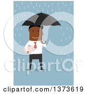 Clipart Of A Flat Design Black Business Man Holding A Piggy Bank And Umbrella In The Rain On Blue Royalty Free Vector Illustration